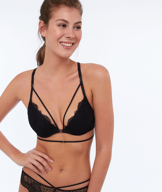 Bra no. 2 - lace plunging push-up bra, ties black.