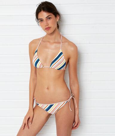 Knotted bikini bottoms white background print.