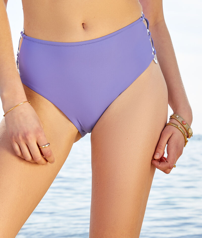 High-waisted swimsuit with buckle;${refinementColor}