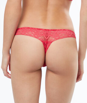 Flowery lace thongs pink.