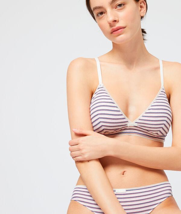 Non-wired striped triangle bra