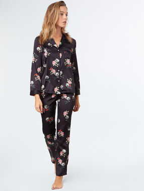 Printed satine pyjama pants black.
