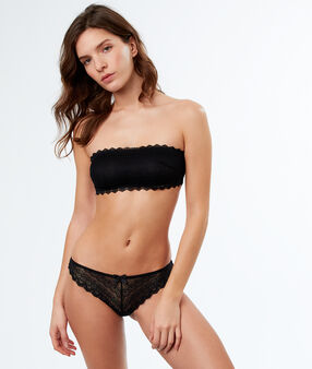Lace strapless bra black.