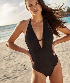 One piece iridescent swimsuit black.