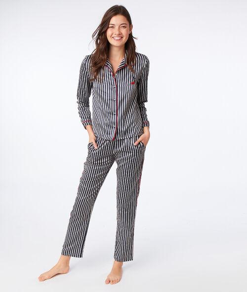 style de mode New York chaussures authentiques Satin stripe pyjama shirt