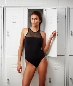 1 piece swimsuit with mesh noir.