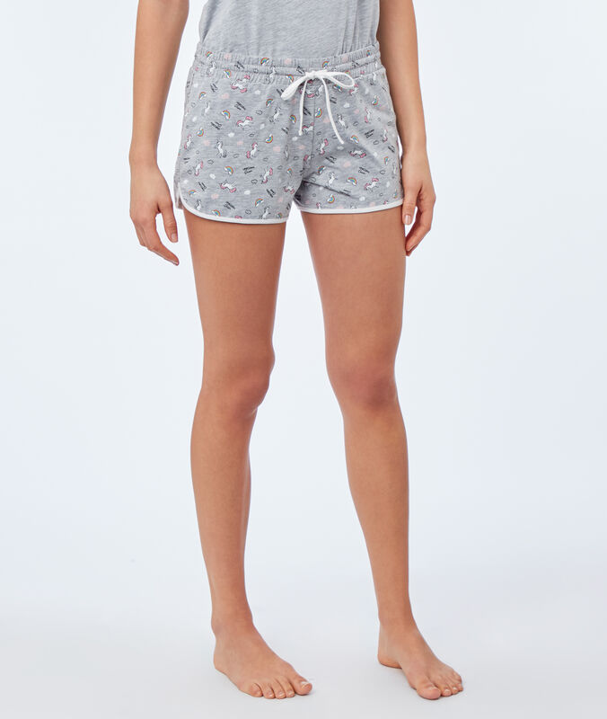 Unicorn print shorts gray.