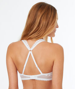 Lace demi-cup padded bra, racer back white.