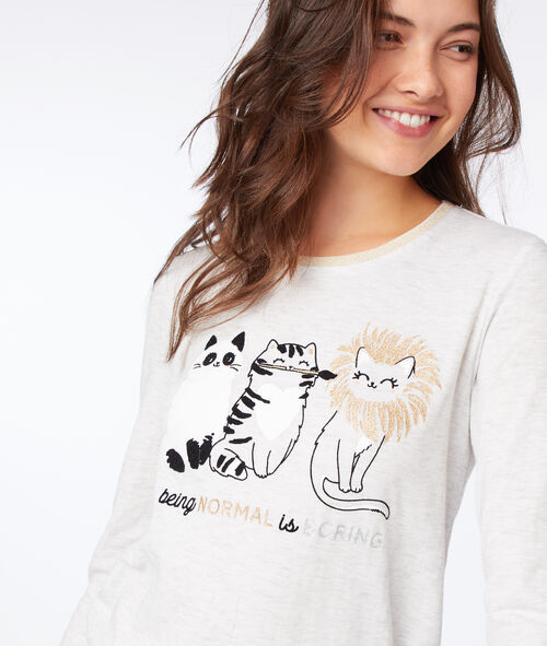 Camisón manga larga estampado de gatos