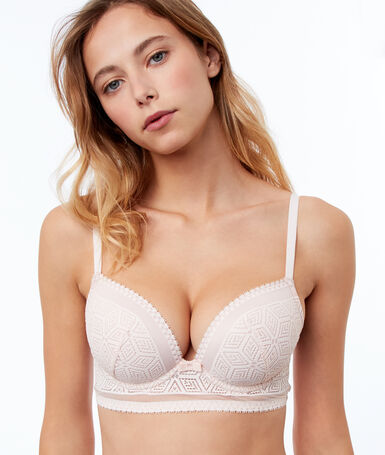 Light padded triangle bra, lace and mesh powder.