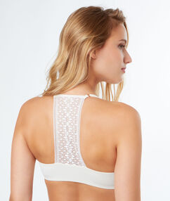 Bra no. 2 - plunging push-up, racer back ecru.