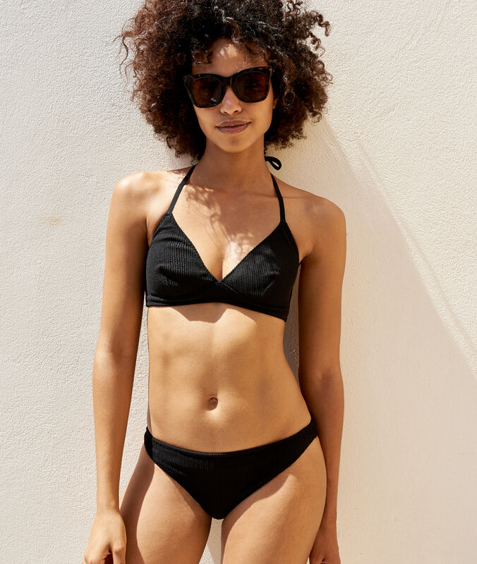 Simple iridescent bikini bottoms black.