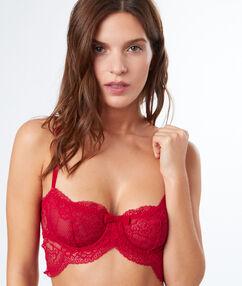 Lace balconnette bra red.