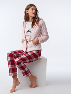 Three-piece cat print pyjama set rose.