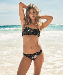 Tropical printed bikini bottom black.