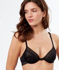 Lace demi-cup bra black.