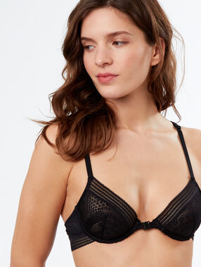 Lace demi-cup bra black.
