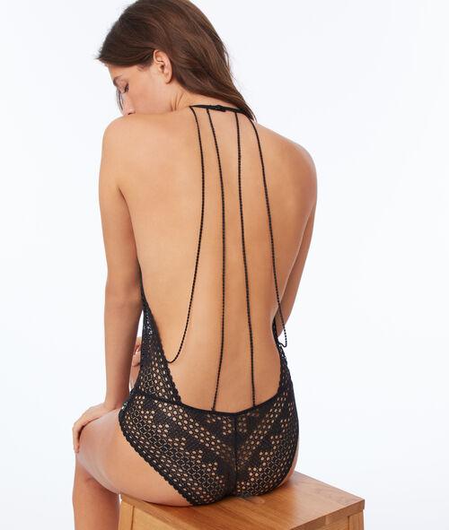 Lace bodysuit, back with fine laces