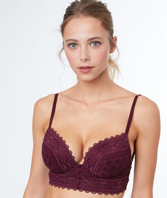 Padded demi cup bra, lace basque plum.