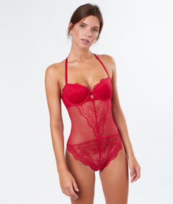 Padded lace body, racer back red.