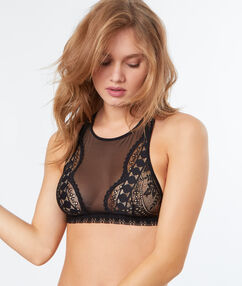 Lace bra with elastic hold black.