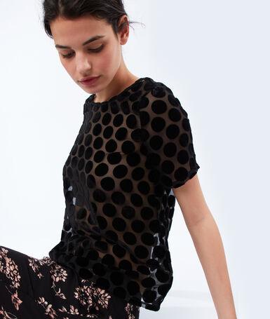 Velvet polka dot top black.
