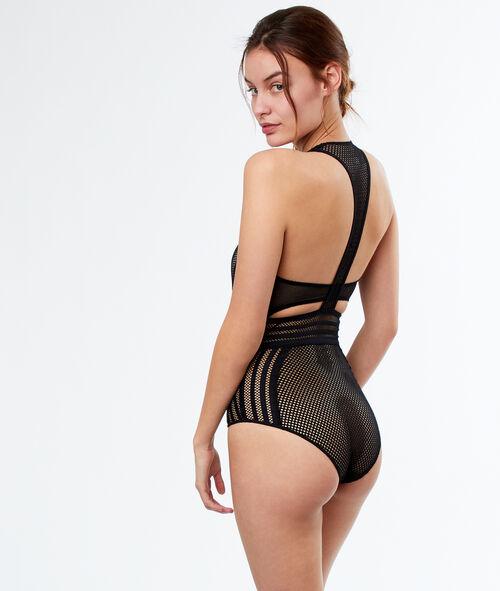 Net bodysuit with racer back