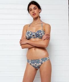 Bas de bikini multiposition imprime fond blanc.