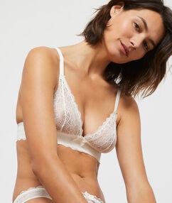 Lace triangle bra off-white.