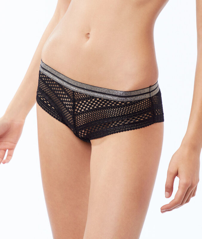 Lace and fishnet microshorts, shiny border black.
