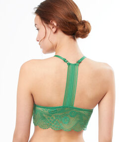 Lace triangle bra green nile.
