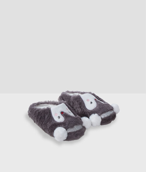 Penguin mule slippers with faux fur
