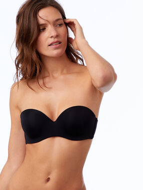 Microfibre cup strapless bra, removable straps black.