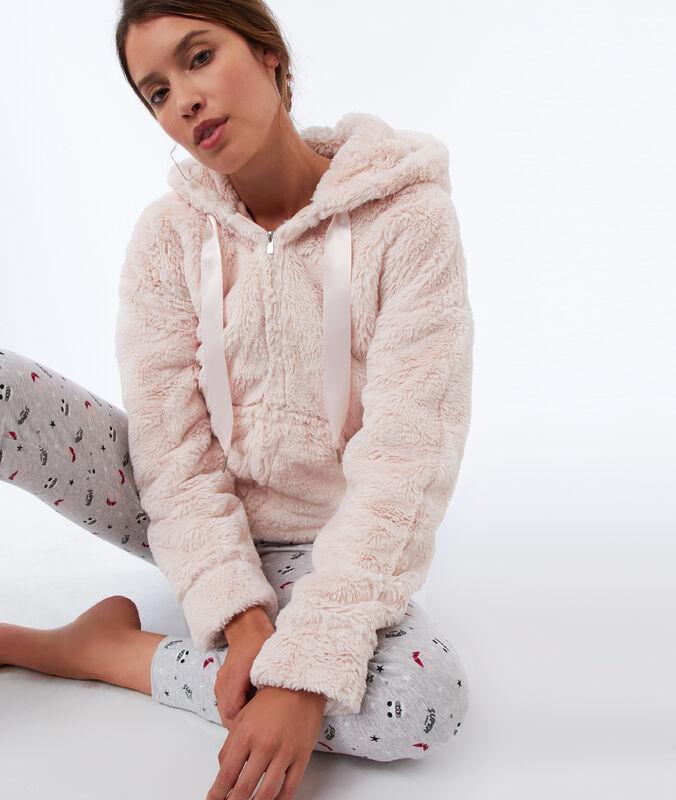 Faux fur homewear jacket pink.