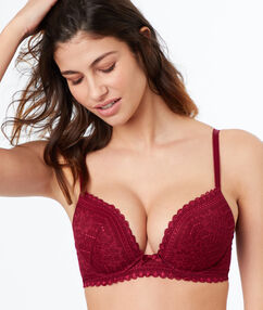 Lace demi-cup padded bra burgundy.