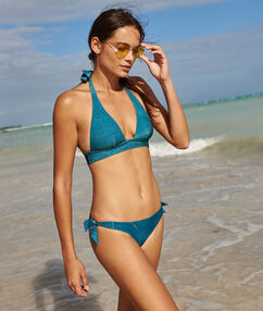 Knotted bikini bottoms blue/green.