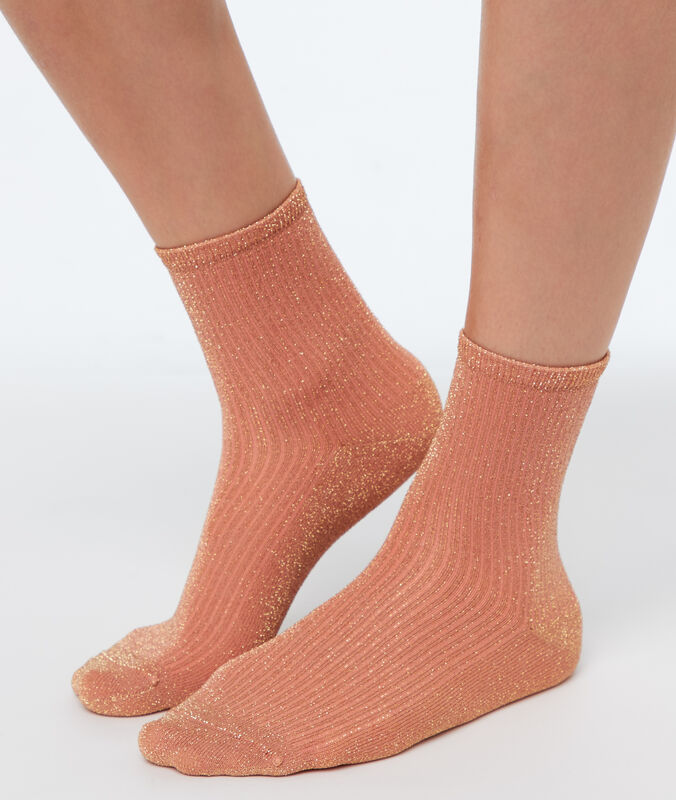 Lurex socks coral.