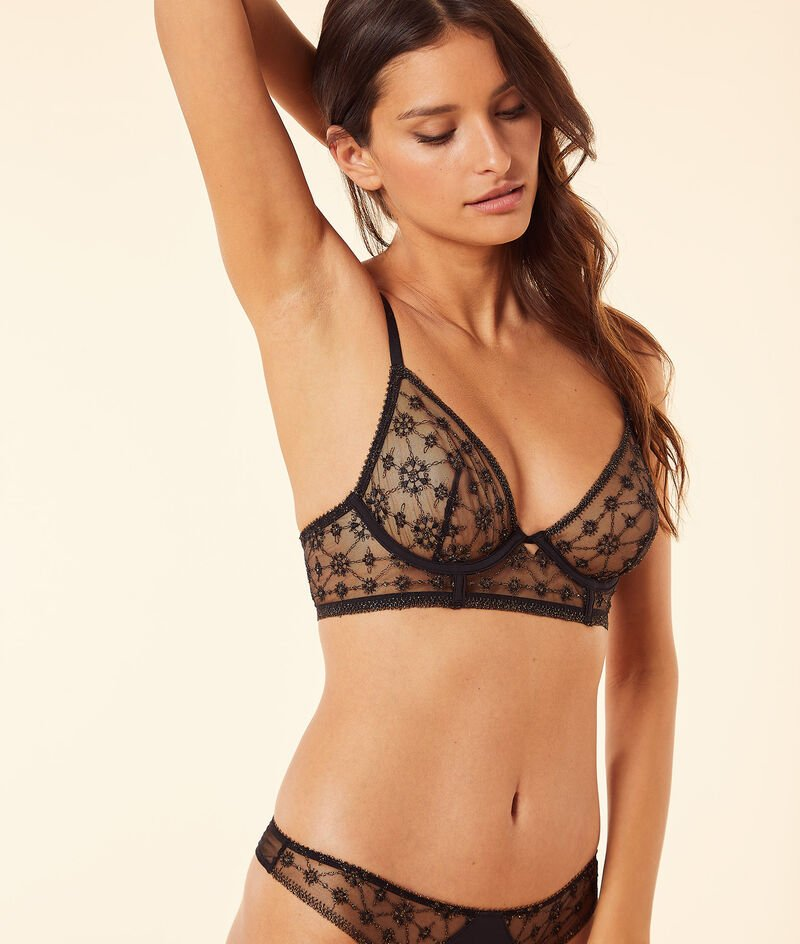 Embroidered tulle without shells bra;${refinementColor}
