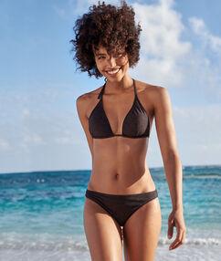 Iridescent bikini bottom black.