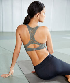 Sports bra, push-up effect & racer back - medium support khaki.