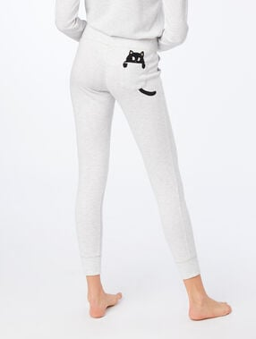 Cat print pyjama trousers grey.