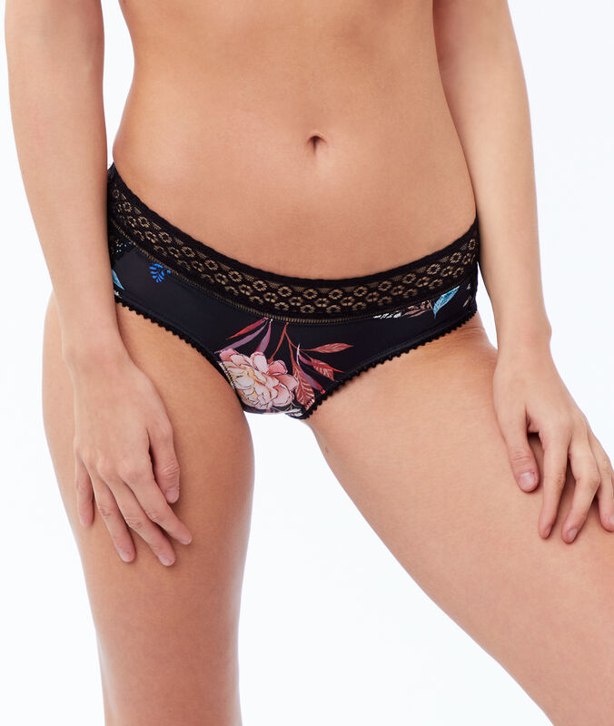 Microfiber boy shorts with lace trim black.