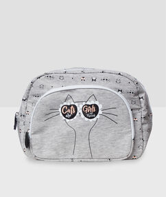 Cat print wash bag gray.