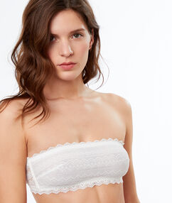 Lace strapless bra off-white.