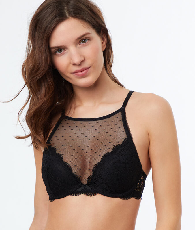 Lace and mesh push-up bralette black.