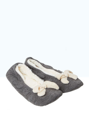 Slippers, bow detail grey.