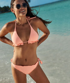 Knotted bikini bottom coral.