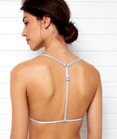 Triangle bikini top with silver ties