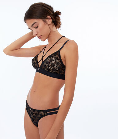 Delicate lace triangle bra black.