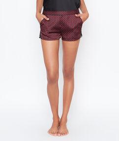 Printed satine pyjama shorts black.